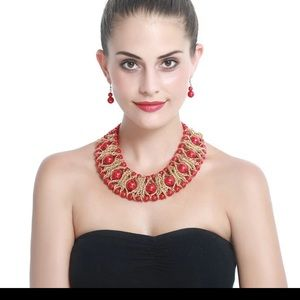 Set Faux big n small red pearls Necklace/earrings